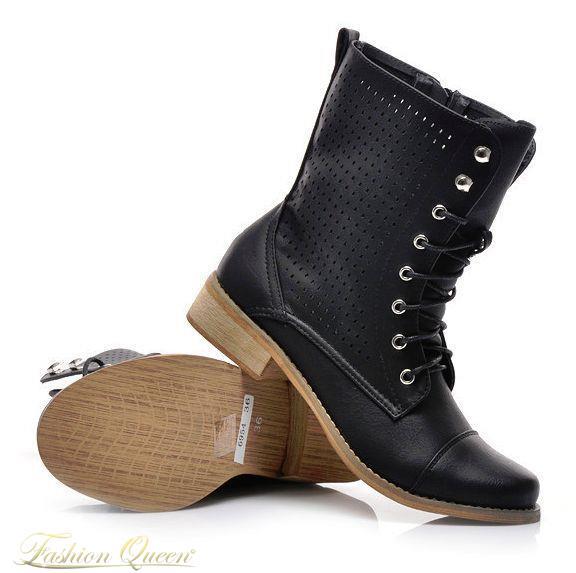 52650b4c4 Fashion Queen - Dámske oblečenie a móda - Čierne workery šnúrovacie