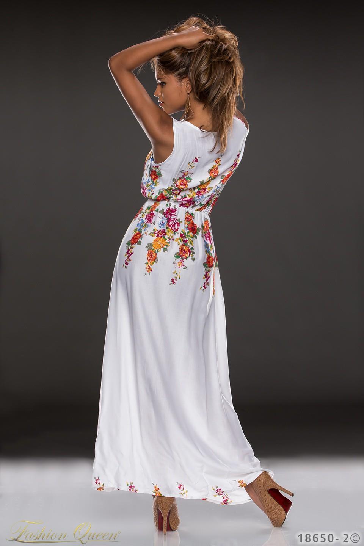 517ea0c3b Dlhé a ľahké letné šaty s potlačou kvetov. Gumička v páse pre zvýraznenie  postavy. Farba: biela. Materiál: 100% bavlna
