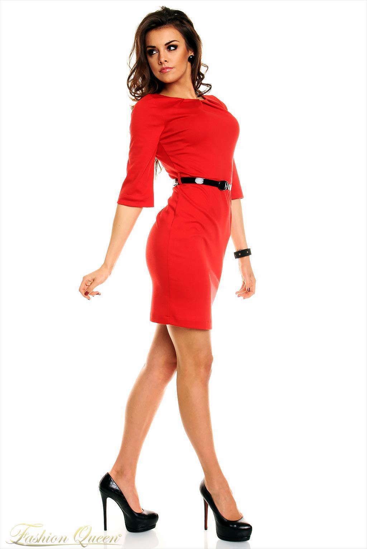 cfd8e9c652ab Fashion Queen - Dámske oblečenie a móda - Červené šaty s opaskom