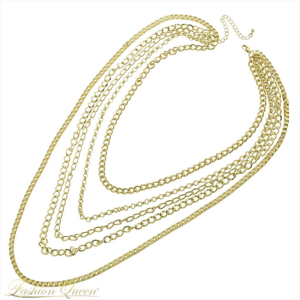 Zlatý viacradový náhrdelník