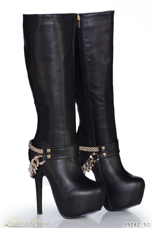 6a5ead4bea Fashion Queen - Dámske oblečenie a móda - Vysoké čižmy s reťazou