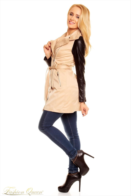 Fashion Queen - Dámske oblečenie a móda - Trenčkot s koženými rukávmi 03d0ce71ffb