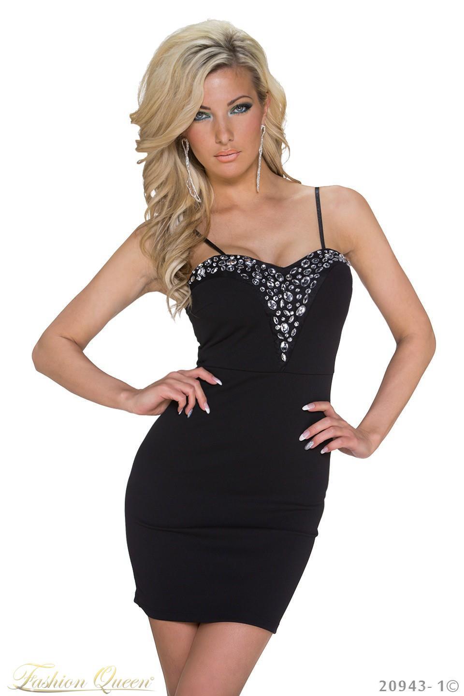 Fashion Queen - Dámske oblečenie a móda - Čierne šaty s kamienkami 273ca5084a0