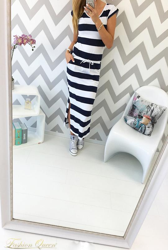 69d41393a Fashion Queen - Dámske oblečenie a móda - Dlhé námornícke šaty