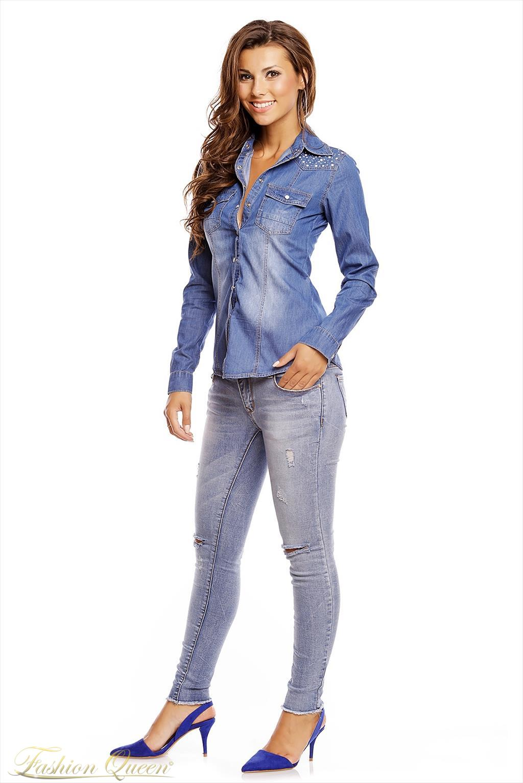 6d48eb9fbe42 Fashion Queen - Dámske oblečenie a móda - Rifľová košeľa