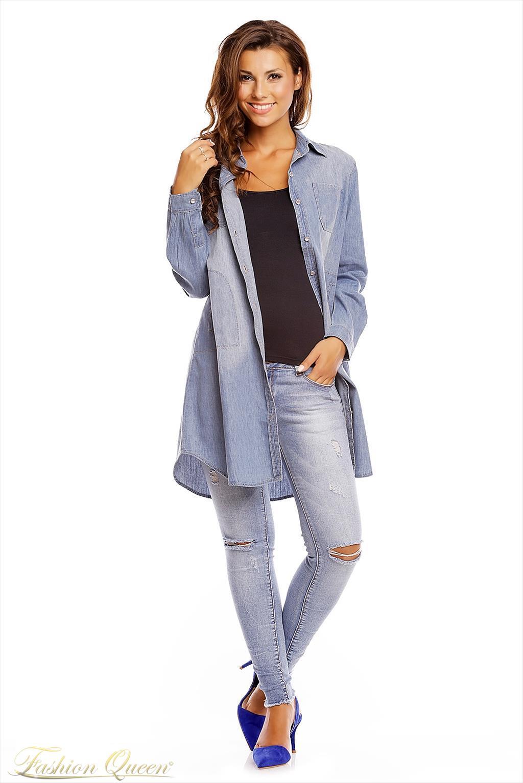 bf04c6de5a32 Fashion Queen - Dámske oblečenie a móda - Dlhá košeľa jeans