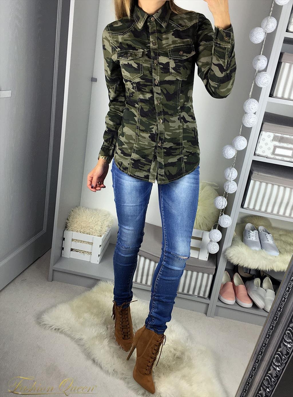 f3d34f354648 Fashion Queen - Dámske oblečenie a móda - Army košeľa