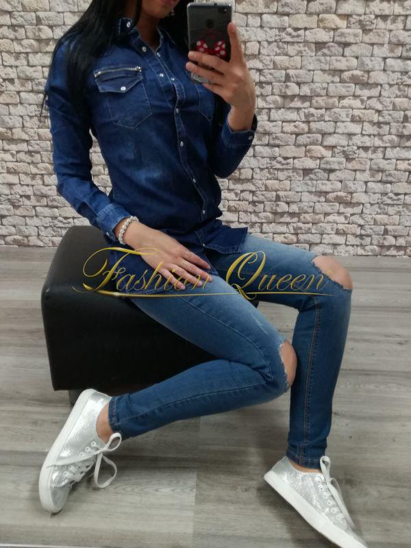 565b2e8d1119 Fashion Queen - Dámske oblečenie a móda - Dlhá rifľová košeľa