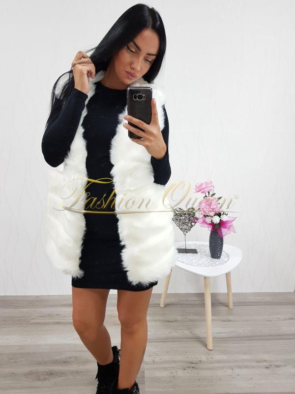 Fashion Queen - Dámske oblečenie a móda - Biela dlhá kožušinová vesta 462407e57ff