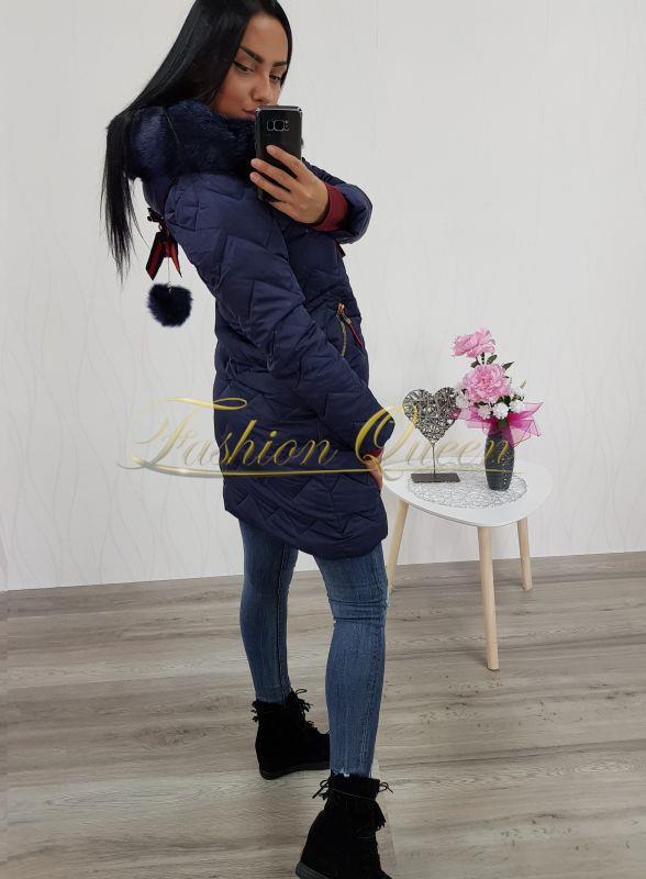 6b20755898e4 Fashion Queen - Dámske oblečenie a móda - Dlhá vetrovka s kožušinou