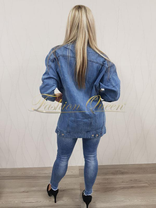 0de6f327a860 Fashion Queen - Dámske oblečenie a móda - Rifľová bunda dlhá
