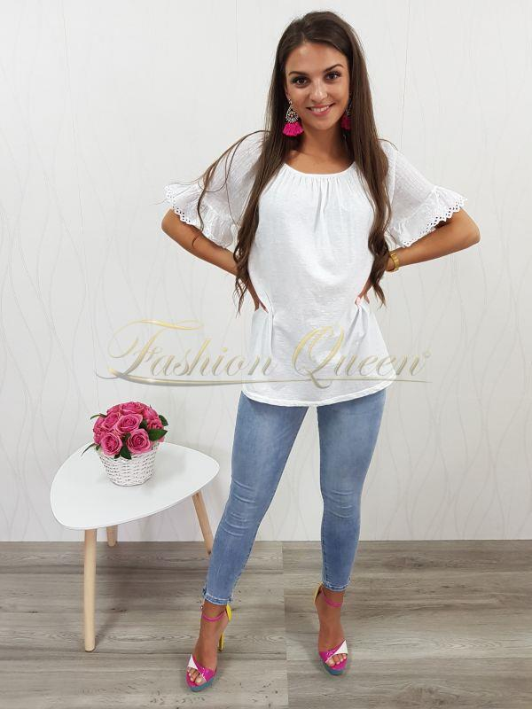319f1f64d36a Fashion Queen - Dámske oblečenie a móda - Biela tunika s volánom