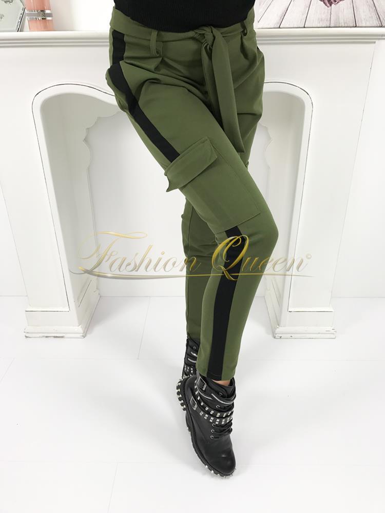 a3ca44269387 Fashion Queen - Dámske oblečenie a móda - Kaki nohavice s vreckami
