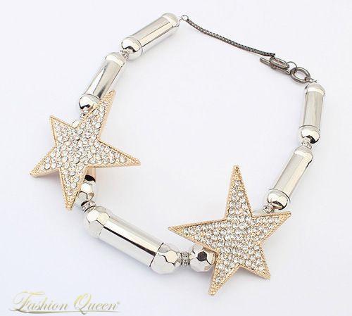 Strieborno zlatý náhrdelník s hviezdami